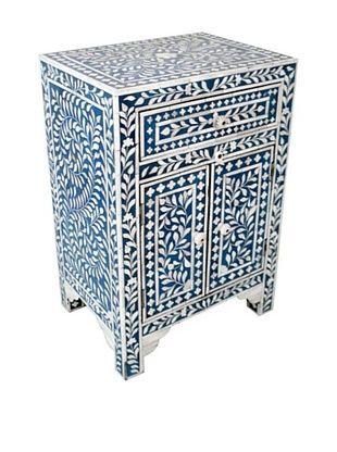 -58,800% OFF Mili Designs 1 Drawer 2 Doors Bone Inlay Bedside, Blue/Cream