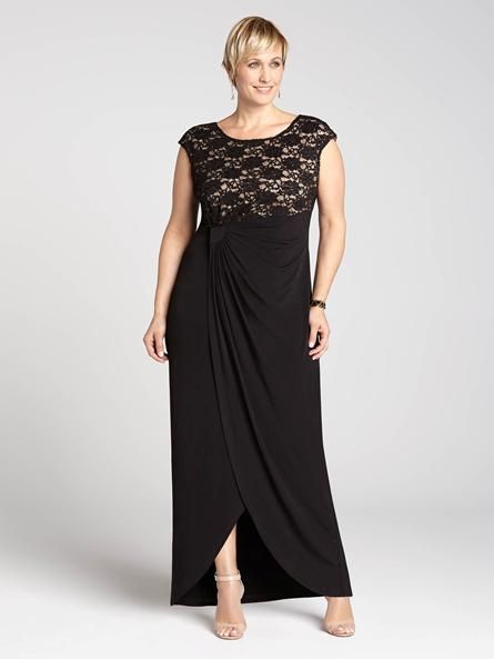 Laura Plus: for women size 14 . Dazzlingly divine and stunning, this gorgeous gown features a lace top and a full-bodied skirt, pinned to the side, helping you pull off sleek evening style. Work in some accessories and a clutch for a specta5010103-8442