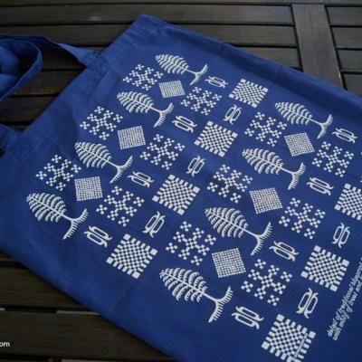Taška stromčeková modrá   folk blueprint bag   Slovakia Gift