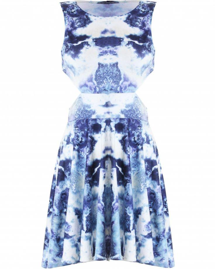 LOVE Washout Print Open Back Cut Out Side Dress