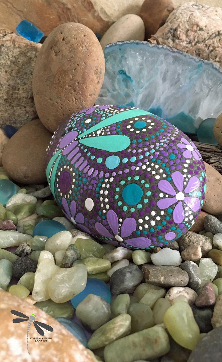 Rock Art, Hand Painted Stones, Dragonfly Art, Dragonfly Designs, Mandala Motif, Natural Home Decor - $34 - FREE USA Shipping.