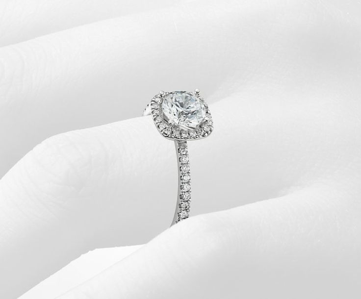 Halo Engagement Ring in Platinum | Blue Nile
