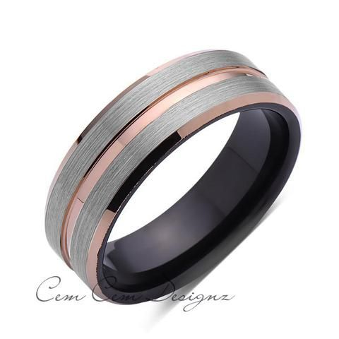 8mm,Brushed Gun Meta,Gray and Black Brushed,Rose Gold Groove,Tungsten RIng,Mens Wedding Band,Comfort Fit - LUXURY BANDS LA