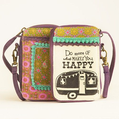 """Everyday Wristlets ~ Glamping Camper : """"Do more of what makes you HaPpY!"""" ~ """"Cotton canvas wristlets with fun printed designs and colorful fabric lining. Print fabric trim, pom poms and lace to add color. Includes 4 card slots, cash pocket, zippered coin purse inside, with an ID window and extra pocket outside."""""""