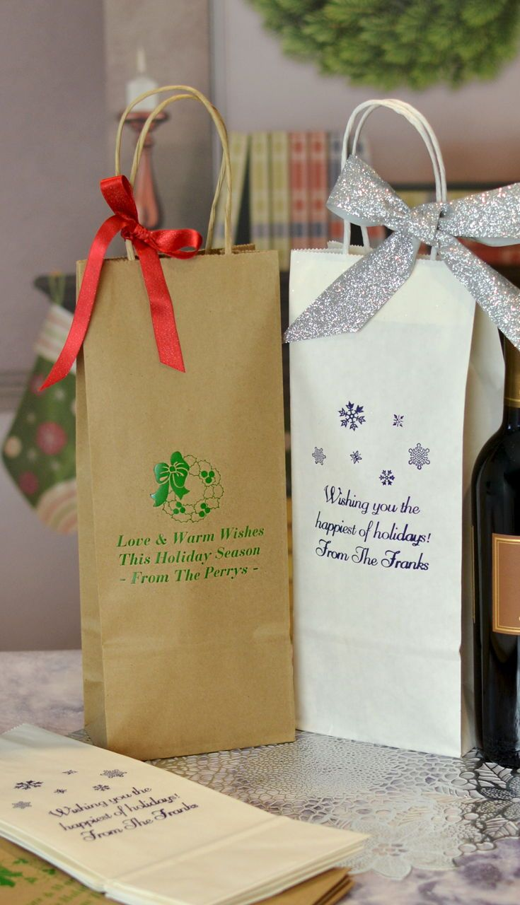 5 x 13 Personalized Christmas Wine Bottle Bags w/ Handles (Set of 25 ...