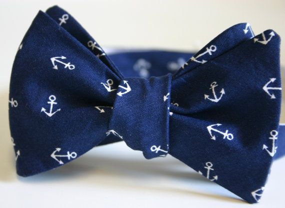 ring bearer ..Anchors Away Navy Mens Bow Tie - cute for a nautical #wedding