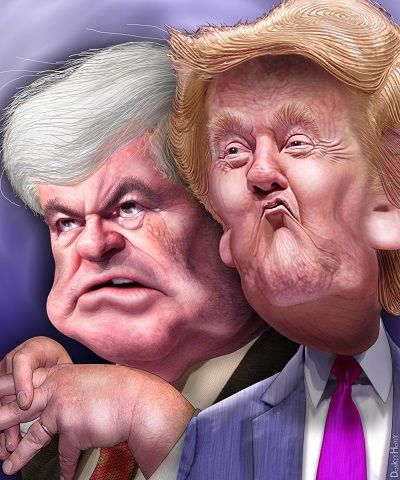 Newt Gingrich And Donald Trump Caricatures