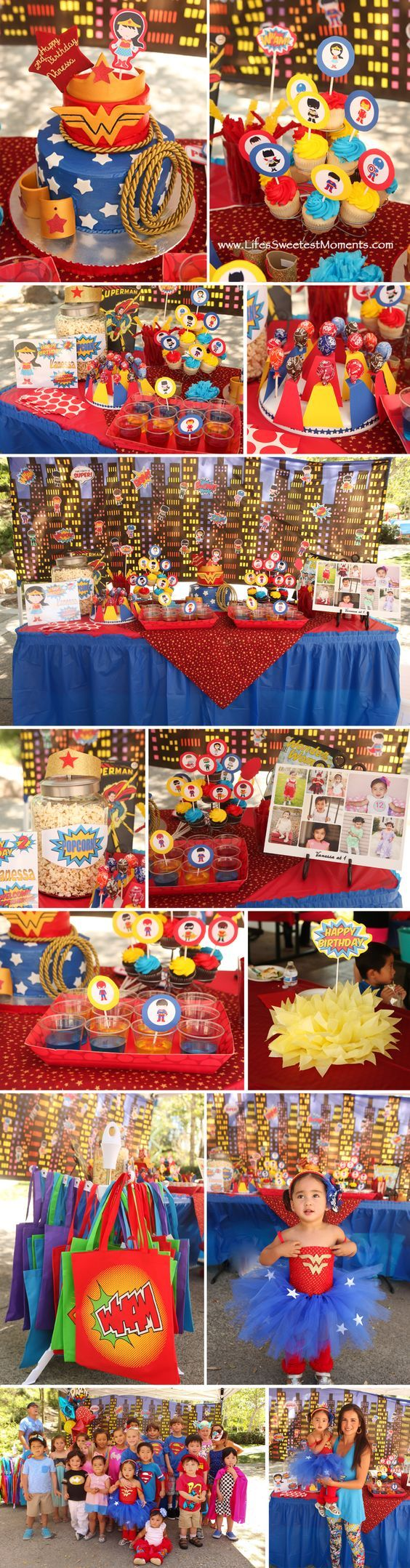 Wonder Woman theme birthday Party. Superhero theme birthday Party. Great ideas!: