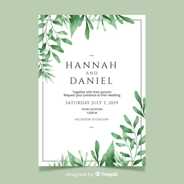 Download Wedding Invitation With Watercolor Leaves Template For