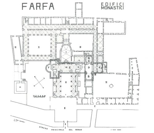 Planimetria Abbazia di Farfa, Fara  in Sabina