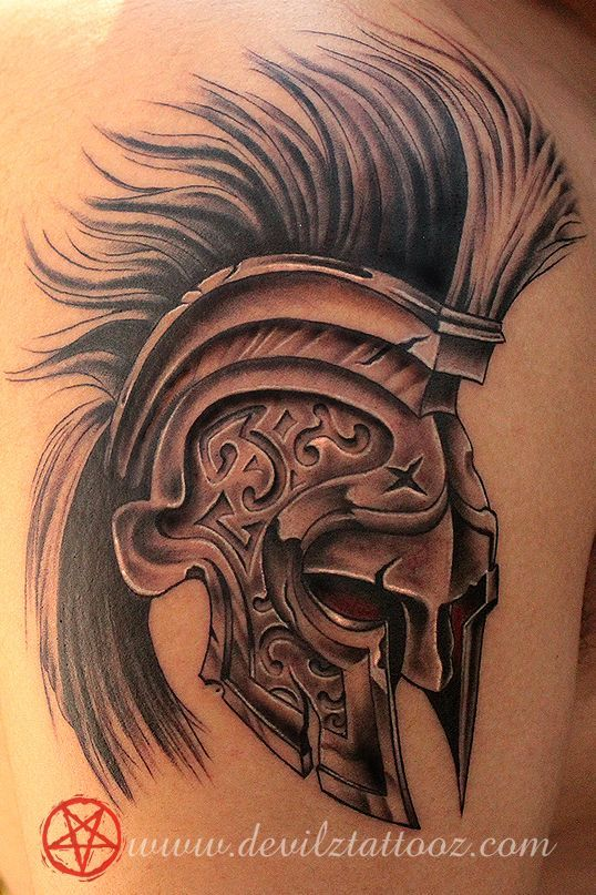 3D Helmet Tattoo Design For Shoulder