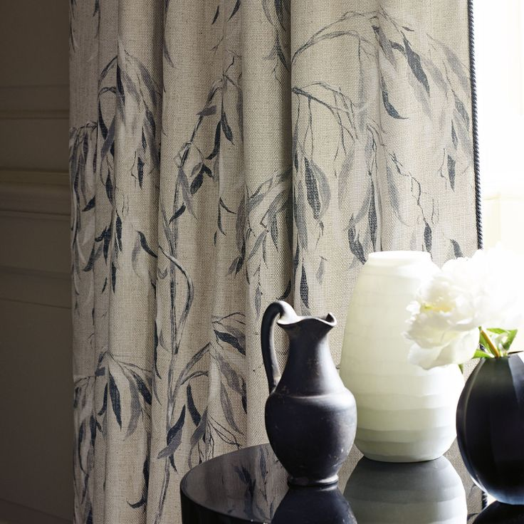 A weeping willow pattern, sketched from nature, to capture the twisting essence of the willows foliage. This fabric is printed traditionally to give a hand-painted effect, on Lustre Zoffanys new piece dyed plain.