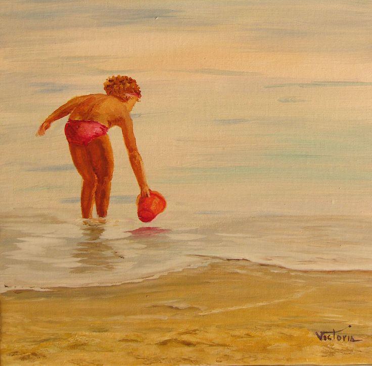 El mar, la orilla con con una niña llenando un cubo de agua. Paisaje marino. Pintura al óleo sobre lienzo. Original y único. de LandscapeOfTheSoul en Etsy