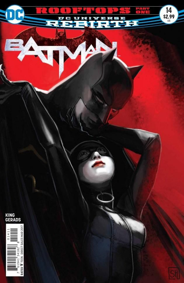 Batman and Catwoman make the most of one last night together. And sometimes that means beating the crap out of Kite Man and some other villains in BATMAN #14!
