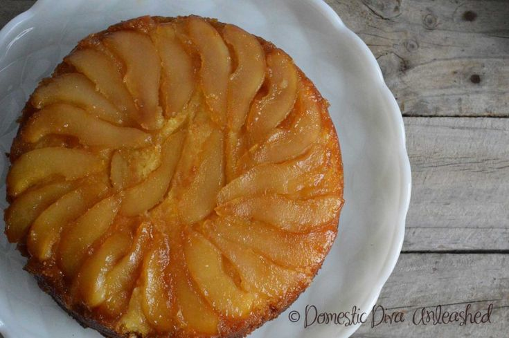Domestic Diva - Pear Upside Down Cake. Can be made GF & DF