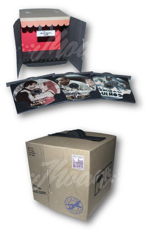 Diseño de producto coleccionable para aficionados al cine. La caja contiene tres películas, tres freecards y stickers varios.