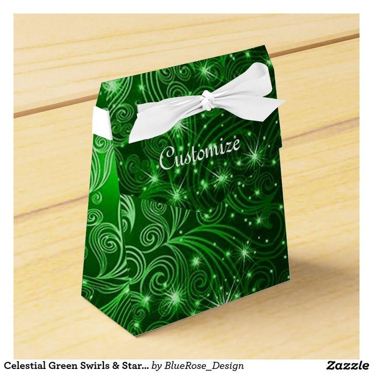 Celestial Green Swirls & Stars Tent Favor Box