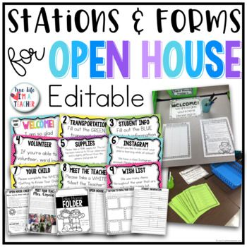 EDITABLE OPEN HOUSE STATIONS & EDITABLE BEGINNING OF THE YEAR FORMS I love open house/sneak-a-peek/back-to-school night/meet the teacher...whatever you call it!