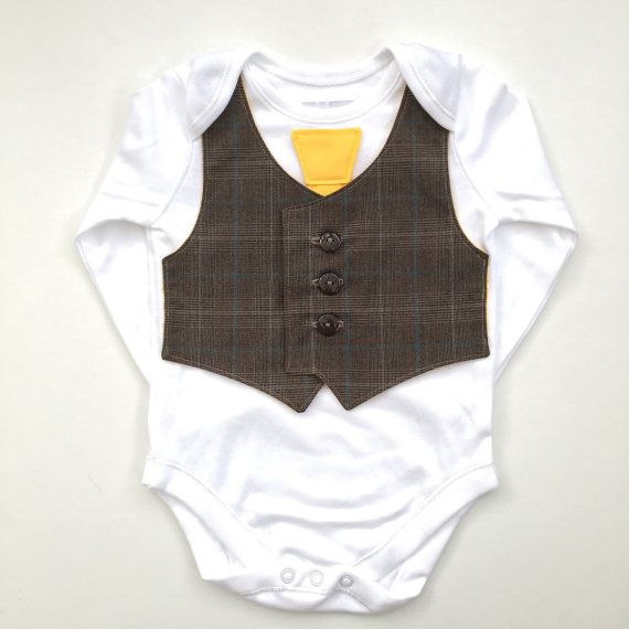 Cute baby clothes, newborn boy clothes, baby boy clothing, green eco conscious, brown and canary yellow, gifts for babies