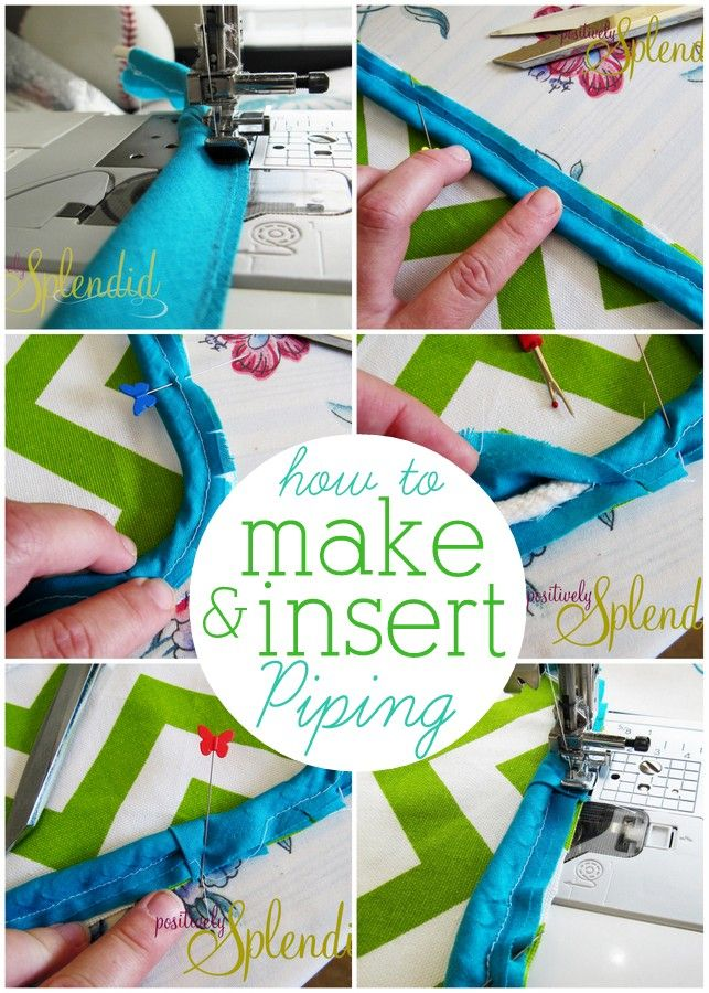 How to Make and Insert Custom Piping - Pictures to guide you every step of the way!: Insert Pipes, Pillows Sewing Tutorials, Sewing Projects, Custom Pipes, Pipes Tutorials, Pillows To Sewing, Diy Patterns Weights, Home Decor, Quilts Projects