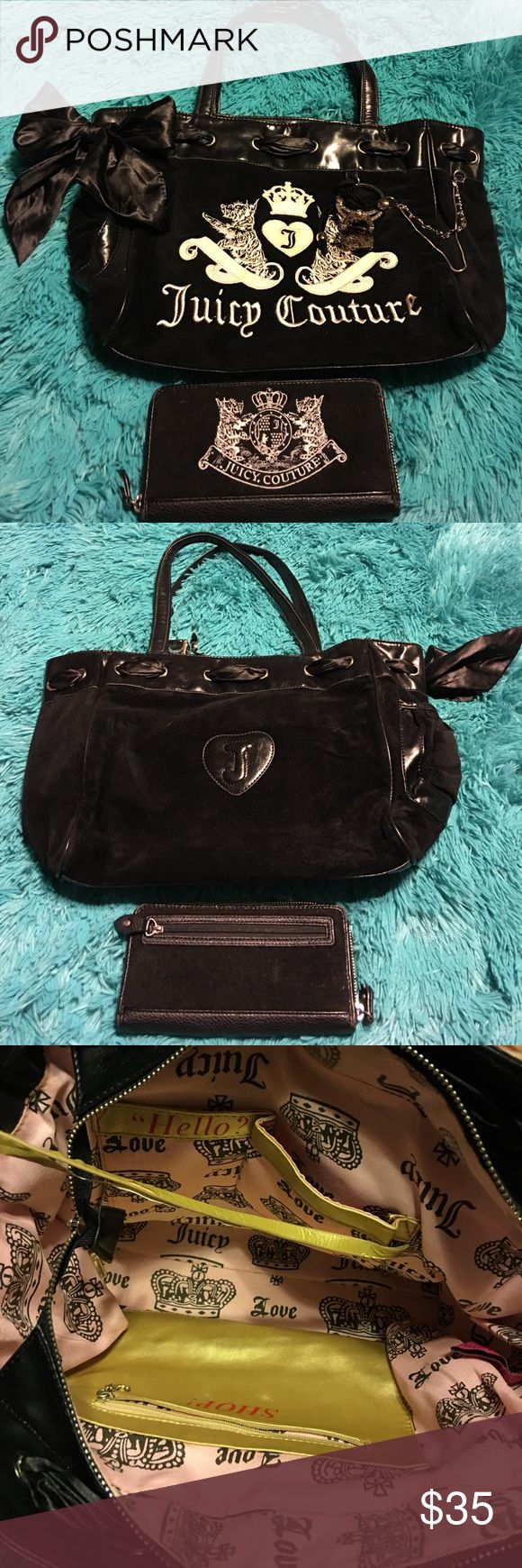 Juicy Couture purse and wallet. Pre owned Juicy Couture purse and wallet. Some wear to wallet edges and peeling to string that holds mirror. Otherwise great shape. Juicy Couture Bags Shoulder Bags