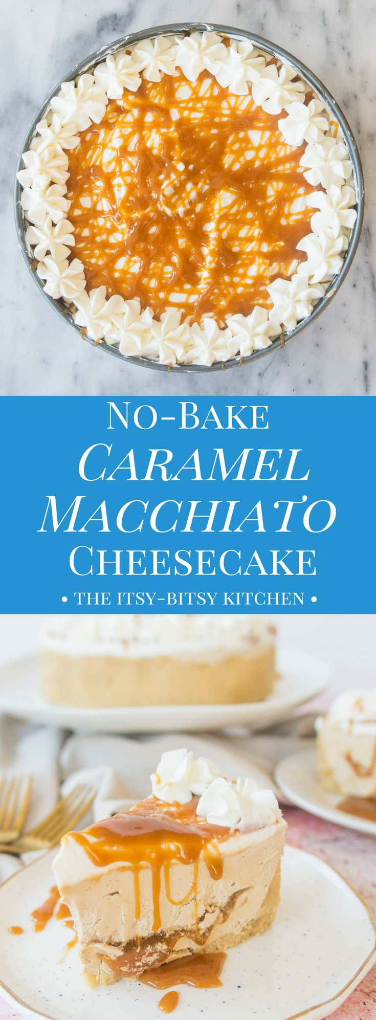 Creamy and lightly flavored with coffee, spiked with vanilla bean, and filled with caramel sauce, this caramel macchiato cheesecake is a no-bake dessert perfect for summer.