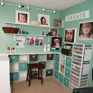 Love the inviting, almost tropical ocean water hues of this fun, clean craft room.