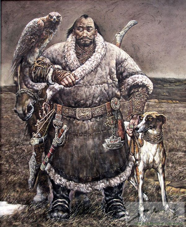 Mongol With his hunting eagle and what looks like a greyhound.