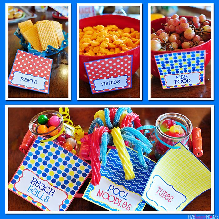 beach ball food label | 6th Birthday Pool Party | {Five Heart Home}