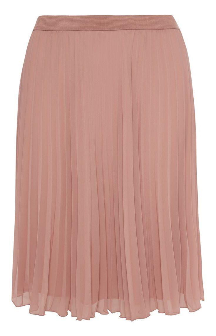 Primark - Pink Chiffon Pleated Midi Skirt - £10