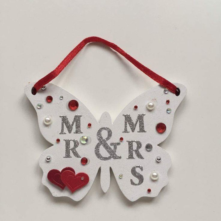 Beautiful white Mr and Mrs plaque beautiful wedding gift for any couple, made from real wood with gems and love hearts with red ribbon.