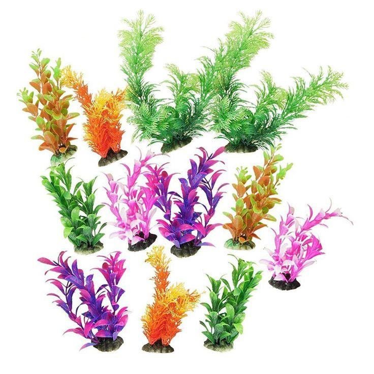 Saim 12pcs Assorted Color Plastic Grass Set Aquarium Fishbowl Jardin Simulation