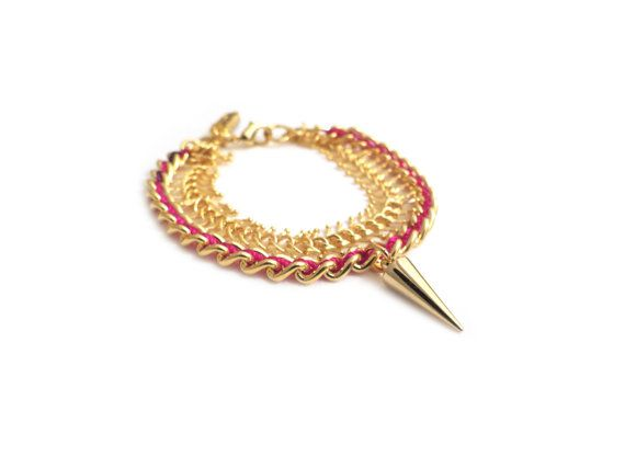 GOLDIE  two rows gold chains bracelet multi strand by CelineH2o