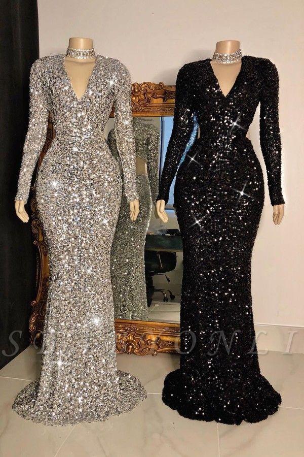 Glitter V Neck Long Sleeves Form Fitting Floor Length Prom Dresses In 2020 Evening Dresses Prom Mermaid Prom Dresses Floor Length Prom Dresses