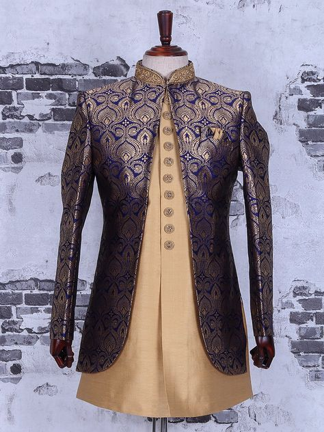 Shop Cream navy wedding wear indo western online from G3fashion India. Brand - G3, Product code - G3-MIW2286, Price - 12250, Color - Cream, Navy, Fabric - Silk,
