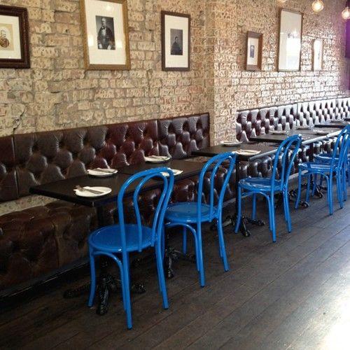 Bentwood color pop: Wine Bars, Colors Pop, Bistros Restaurant, Coffee Bar, Cobalt Blue, Blue Chairs, Colors Chairs, Bentwood Chairs, Cooper Wine