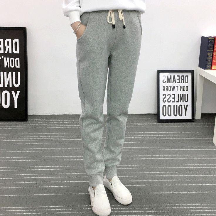 Autumn/Winter Women Thick Plus Velvet Loose Solid Color Harem Sweatpants Fashion Warm Casual Plus Size Pants Pantalon TT3080 #Affiliate