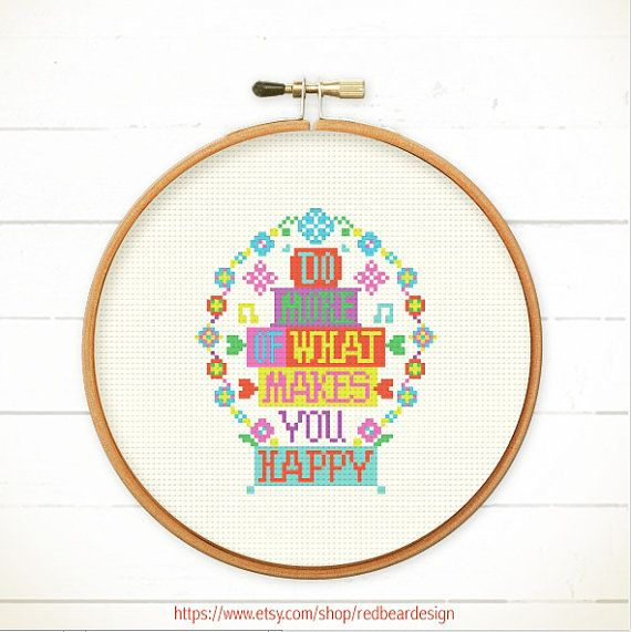 Modern Cross stitch pattern PDF Do More of What by redbeardesign, £4.00