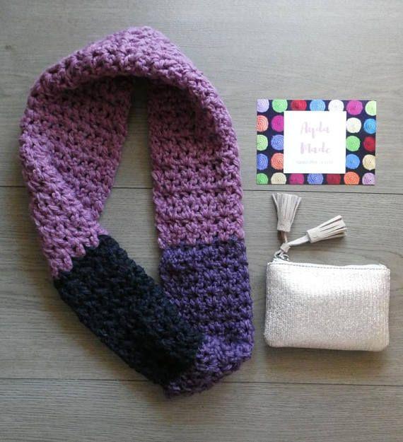Crochet chunky infinity scarf handmade