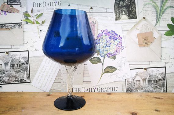 Brandy Glass Vase, Tall brandy glass vase, Blue glass, Twist stem, Vintage vase, Mid century modern vase, Mid century vase, Retro home decor