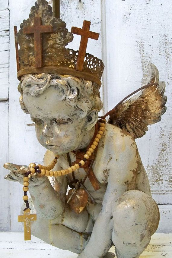 Cherub statue hand made crown adorned with by AnitaSperoDesign, $280.00