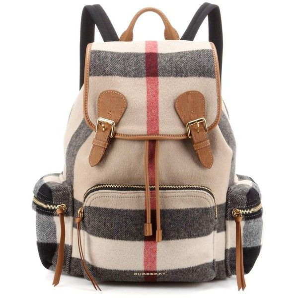 Burberry London England Large Leather-Trimmed Check Backpack ($1,840) ❤ liked on Polyvore featuring bags, backpacks, multicoloured, colorful bags, knapsack bag, leather trim backpack, day pack backpack and multi colored backpacks