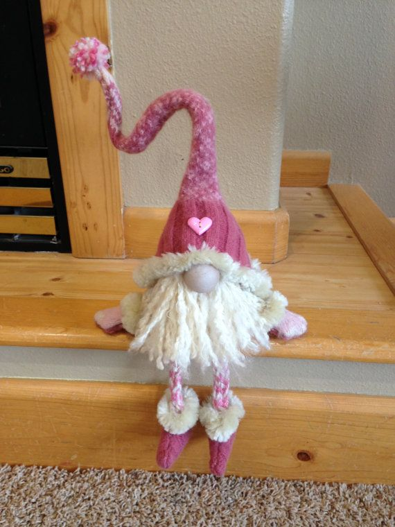 Heidi's Gnomes | Felted from a wool sweater, legs and arms knitted into I-cord. Body poly filled. Sits approximately 10 tall.