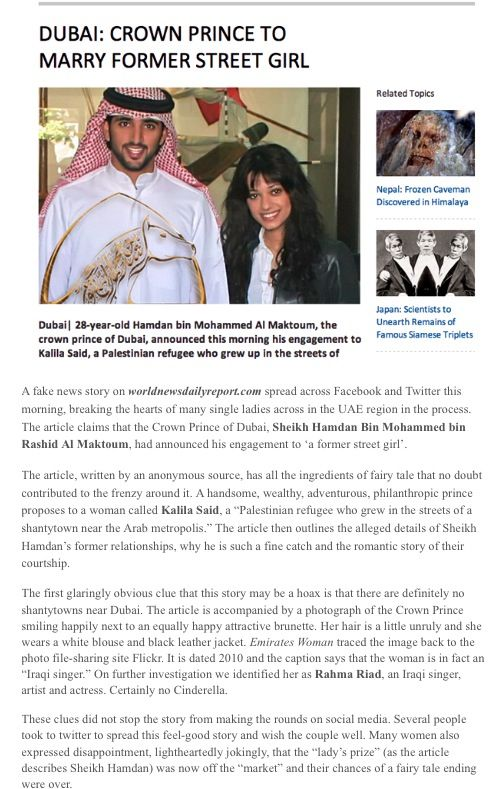 FAKE !!! PRINCE HAMDAN NOT ENGAGED. PLEASE READ ATTACHED ...