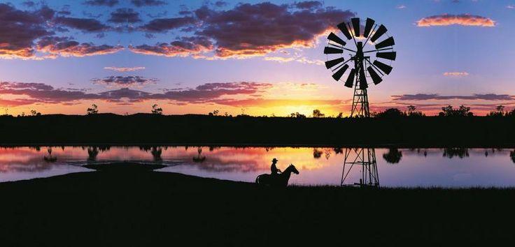 """Windmill"" Outback sunset Queenslan Australia"