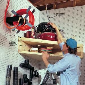 "Put a loft in the corner of a wall for your air compressor: Get it up off the floor. Rim on the shelf so it doesn't ""walk"" off while running."