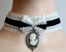 Black velvet cameo corset collar ribbon choker necklace vampire victorian goth lolita egl off white lace gothic jewelry bow steam punk dark