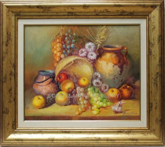 Tarrasó : Still life. Medium: Oil on canvas Measurements (cm): 77x68 Canvas measurements (cm): 55x46 Interior frame: Yes.  Excellent work with courageous colouring, on a different theme from what we are accustomed to see from this excellent painter. $606.29