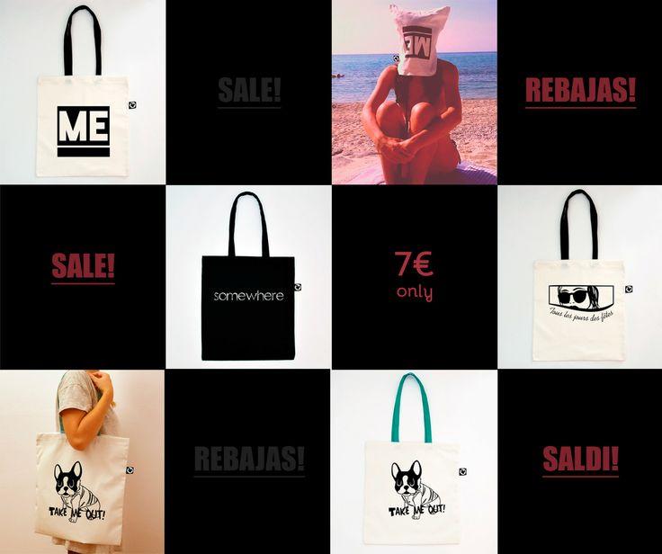 TOTE BAGS ON SALE!!! 7€ only!!!   #sale #rebajas #saldi #totebags #totebag #borsa #cotton #bag #bolso #handmade #serigrafia #screen #printed #creative #gift #design #shopping #shopper