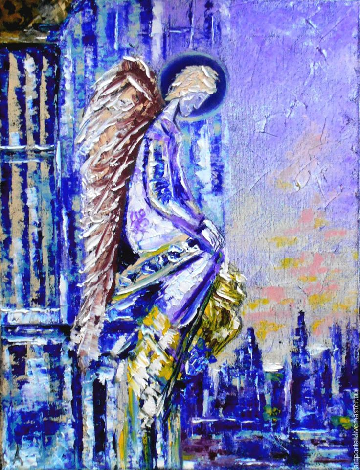 Купить Ангел в отпуске. Холст, масло, мастихин. - комбинированный, ангел, ангел в отпуске, картина с ангелом